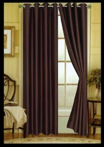 """TWO CHOCLATE BROWN faux silk grommet window PANEL curtain dropes treatment 55 x 84"""" BRIGHT COLOR SHINY LOOK GREAT QUALITY"""
