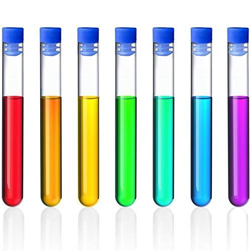 Hentek 20pcs Tubes à Essai Plastique avec Bouchons, Non Graduée en Plastique Tubes à Essai Cadeau Sample Lab Tubes (bleu)