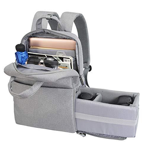 WUZHENG Kamera Rucksack DSLR/SLR Camera Bag Travel Outdoor Waterproof 14 Zoll Laptop-Bag kompatibel für Sony Canon Nikon,LightGrey