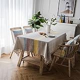 QINDONG Mantel Rectangular Paño de la Mesa del algodón de la imitación de la imitación del algodón con la Cena del hogar del hogar