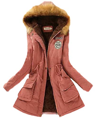 hower Womens Faux Fur Hooded Peacoat Thicken Outwear Overcat 2 L