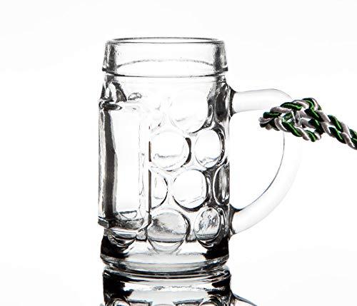 PorcelainSite Geschenkideen GmbH 12 Stück Minimaßkrüge Minikrüge Stamperl Pinnchen 5cl Glas zum Umhängen mit Kordel grün/weiß Kohlfahrt, Geburtstag, Vatertag
