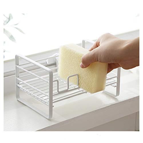 Sponge Holder, White Kitchen Sink Organizer with Removable Tray Sink Caddy Soap Scrubber Brush Organizer No Drilling