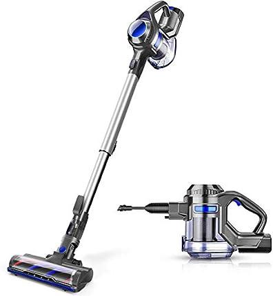 Aspirador inalámbrico MOOSOO, 4 en 1, potente aspiradora con ventosa de 1,3 l de capacidad para el hogar piso duro alfombra coche mascota ligero XL-618A