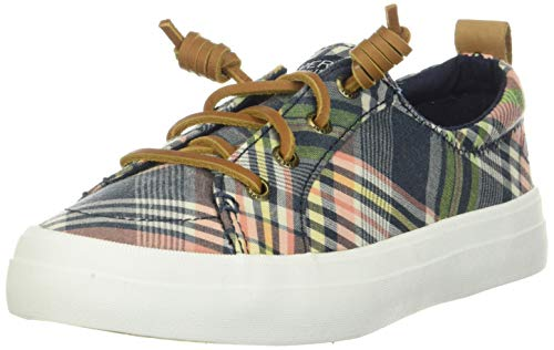 Sperry Women's Crest Vibe Washed Plaid Sneaker, Plaid, 7 M US