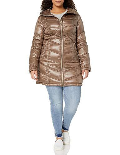 Calvin Klein Abrigo de plumón para Mujer de Longitud Media Plegable con diseño de chevrón