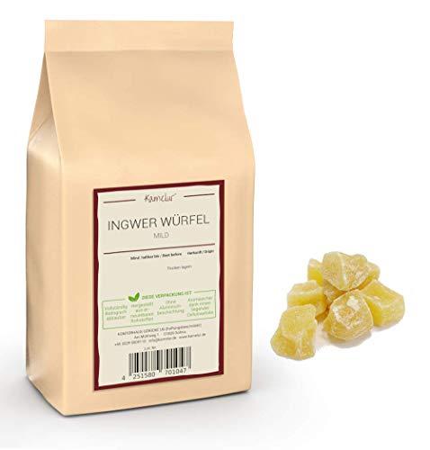 1kg de dés de gingembre doux - cubes de gingembre confit de qualité supérieure, sans sulfites