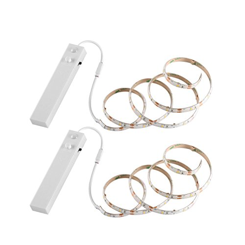 YOUKOYI Battery Powered LED Strip Lights Flexible Motion Sensor Closet Light for Cabinet/Cupord/Stairs, 4000k- 2 Pack
