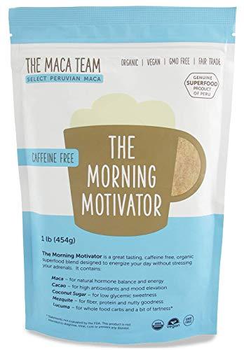 The Maca Team The Morning Motivator Maca Coffee, Caffeine-Free Coffee, GMO-Free, Vegan and Fair Trade Coffee, 1 Pound, 50 Servings