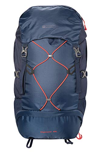 Mountain Warehouse Highland 40L Rucksack - Durable Backpack, Hydration Compatible Navy