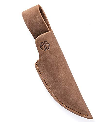 Angus Stoke Funda de Cuchillo de Cuero Caza, el Ocio y la Cocina - Funda de Cuchillo de cinturón de Cuero Extra Grueso - Bolsa de Cuchillos Jack (Medio, Marrón)