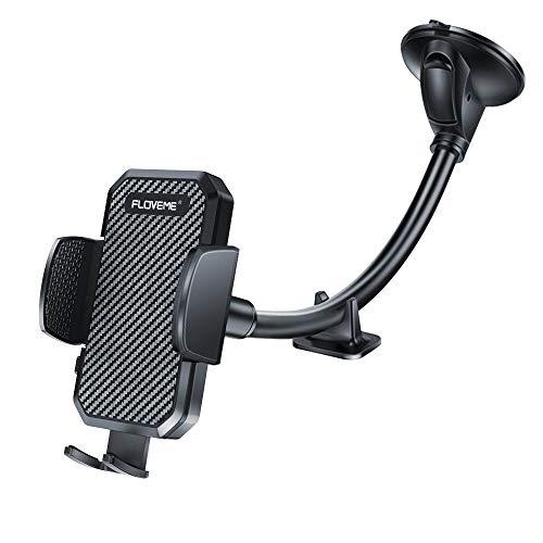 FLOVEME KFZ Handyhalterung Auto Saugnapf - Universal Handyhalter Auto mit Langem Schwanenhals für Windschutzscheibe Kompatibel für iPhone Samsung Huawei USW Schwarz