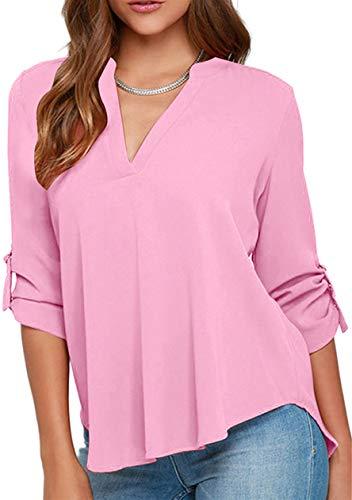 OMZIN Blusa de gasa para mujer, color liso, informal, media manga Rosa. L