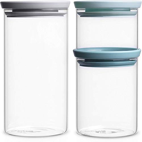 Brabantia Pots empilables en verre (0,3/0,6/1,1 l), lot de 3 transparent