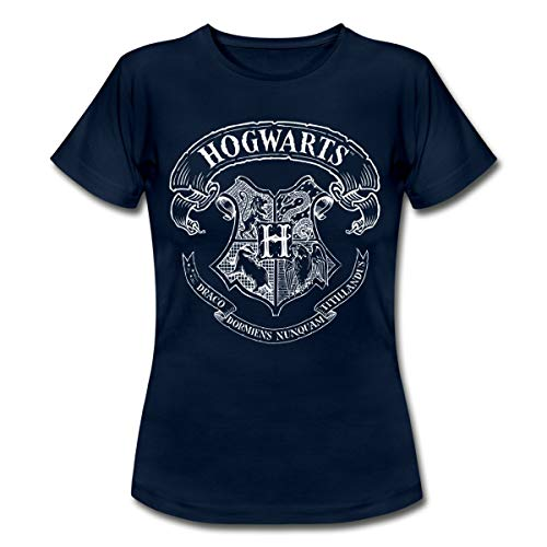 Harry Potter Hogwarts Wappen Zeichnung Frauen T-Shirt, S, Navy