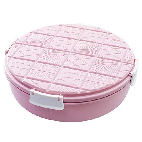 QL fruitbord rond vak bonbondoosje gedroogde fruitschaal met deksel snackbox roze chocoladedeksel fruitbord