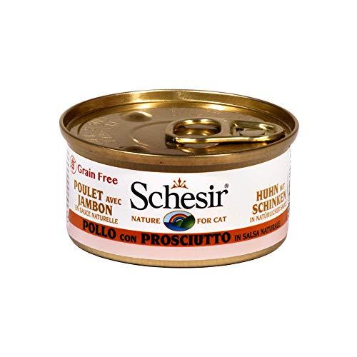 Schesir Cat Sauce Huhn mit Schinken, Katzenfutter nass in Soße, 24 Dosen x 70 g