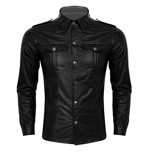 Agoky Herren Leder Hemd Slim Fit Langarm Freizeithemd mit Kentkragen Brusttaschen Stretch Uniform Top Wetlook Oberteile Sexy Clubwear Schwarz 3XL