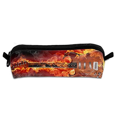 Pengyong Federmäppchen mit Reißverschluss für Gitarren und Feuer, kleine Kosmetiktasche für Kinder, Jugendliche und andere Schulutensilien