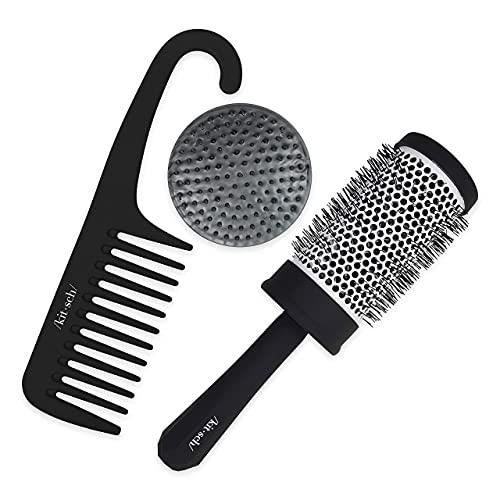Kitsch Shampoo Brush Scalp Exfoliator, Volumizing Blow Dry Brush and Wide Tooth Comb Pro Hair Bundle