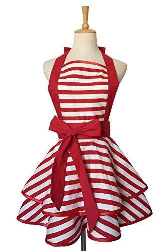 ARMAC Delantal doble, color rojo con rayas blancas, delantal sin mangas, babero uniforme de trabajo