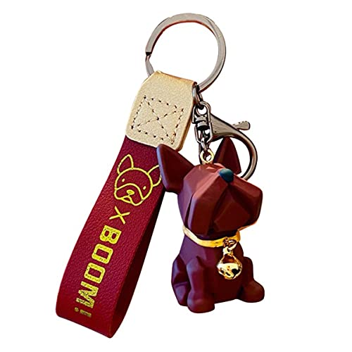 DouDouFam-Cute Pet Dog French Bulldog Keychain Resin Bulldog with Leather Strap Car Keychain Accessories Hanging Ornament Bag