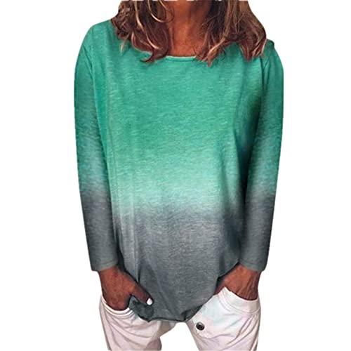 Camiseta Mujer Tops Mujer Cómodo Casual Suelto Cuello Redondo Manga Larga Primavera Y Verano Moda Tendencia Color Degradado Mujer Tops Mujer Blusa E-Green 5XL