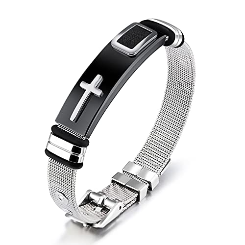 Lazzzgua Stainless Steel Men's Bracelet, Religious Cross Bracelet Sporty Wristband with Adjustable Watch Buckle Gift for Him