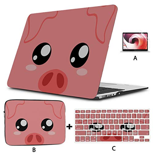 Mac Air Laptop Case Cartoon Funny Pink Pig Nose Mac Book Covers Hard Shell Mac Air 11'/13' Pro 13'/15'/16' With Notebook Sleeve Bag For Macbook 2008-2020 Version