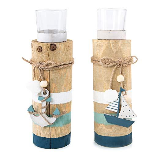 Logbuch-Verlag 2 portavelas de madera y cristal – Decoración marítima para colocar de pie 23 cm – Portavelas de té sobre poste de madera