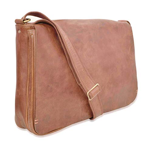 V-élan Herren Vintage Leder Messenger Bag mit Laptop Sleeve 30,5 x 8,9 x 40,6 cm (H x T x B), Cognac weiß weiß 12