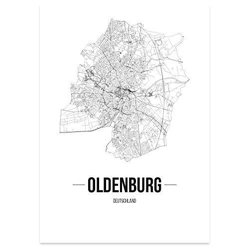 JUNIWORDS Stadtposter, Oldenburg, Wähle eine Größe, 30 x 40 cm, Poster, Schrift B, Weiß