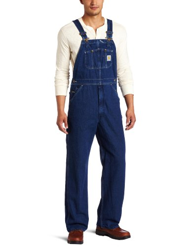 Carhartt Men's Washed Denim Bib Overalls,Darkstone,38W x 28L