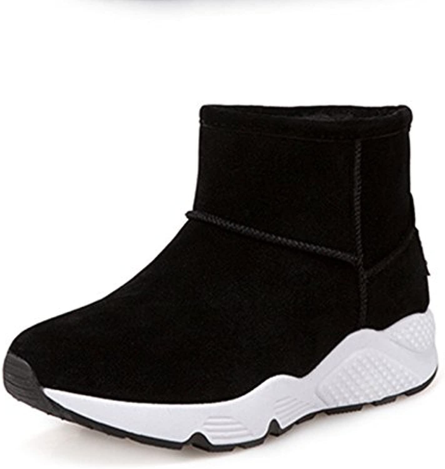 WYMBS Women's shoes Thickening Keep Warm Snow Boots Movement Leisure Short Tube Cotton Boots,Black,35