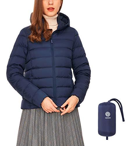LAPASA Damen Daunenjacke Übergangsjacke mit Kapuze Packbar MEHRWEG L23 (Dunkelblau, XXL)