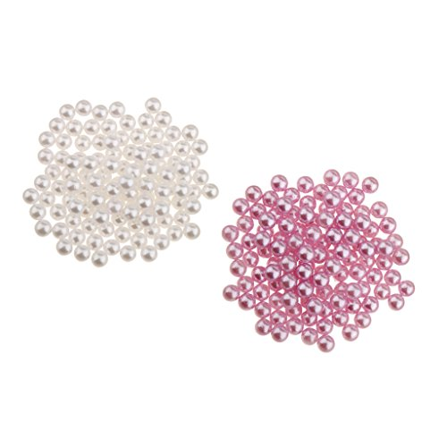 dailymall Perlas de Imitación de Plástico Redondas de 5 Mm, Sin Agujeros, Cuentas Sueltas para Manualidades, Paquete de 300 Piezas