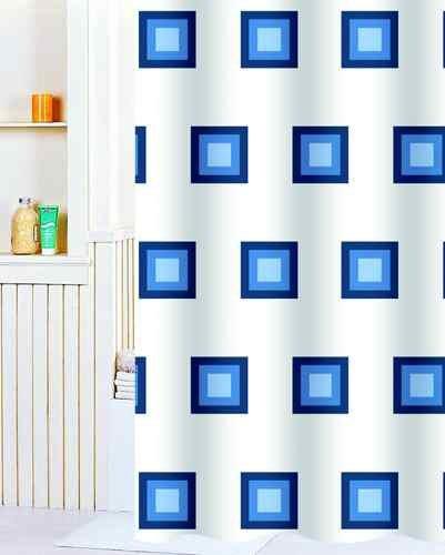 Nordictrade Duschvorhang Textil 180 x 200 mit Ringen Karo hell blau