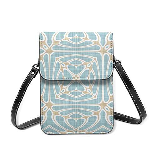 Seafoam Green Taupe Brown Hip Orient Bali Crossbody Cell Phone Case Bag, borsa in pelle slot per carte di credito portafoglio tasca del telefono borsa frizione