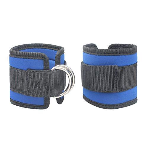 LIOOBO 2pcs Cable de la máquina Correa del Tobillo Gimnasio Acolchado Muslo Correa de Apoyo de Tobillo de Entrenamiento de Fuerza Ajustable (Azul)