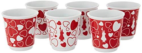 Bialetti Y0TZ087 Set 6 Bicchierini Omino & Cuore, Porcellana, Omino Cuore