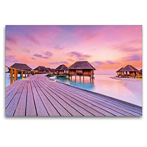Premium - Lienzo de tela (120 x 80 cm, horizontal, con imagen en el mar) Maldivas, Océano Índico (CALVENDO);CALVENDO Orte