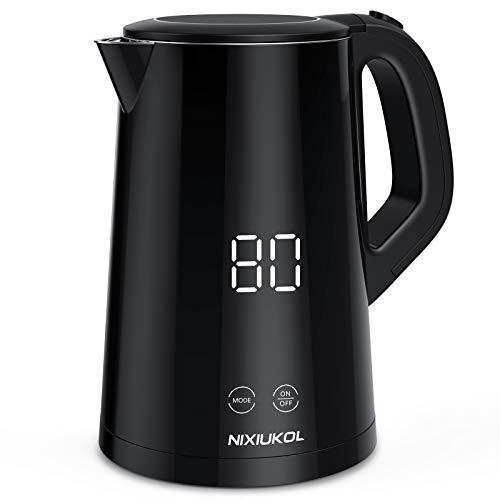 NIXIUKOL Edelstahl Wasserkocher mit Temperatureinstellung, 1500W Elektrischer Teekocher mit LCD Display, Warmhaltefunktion, Touch Control, Automatischer Abschaltschutz, 1.5L, BPA-frei, schwarz