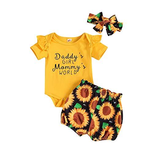 Livingsenburg Conjunto de ropa de Navidad para bebé de manga larga con estampado floral rojo, 3 unidades, para bebés de 0 a 24 meses G-amarillo. 12-18 Meses