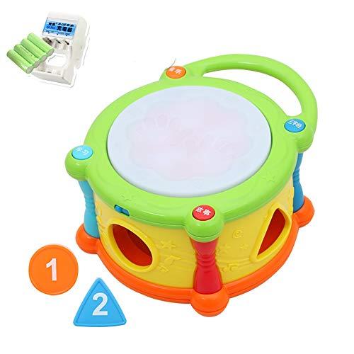 Lihgfw Baby Electric Hand Trommel, Baby Pädagogische Patentrum, Formerkennung mit musikalischen Spielwaren, Flash-Trommelkopf (Color : Multi-Colored)