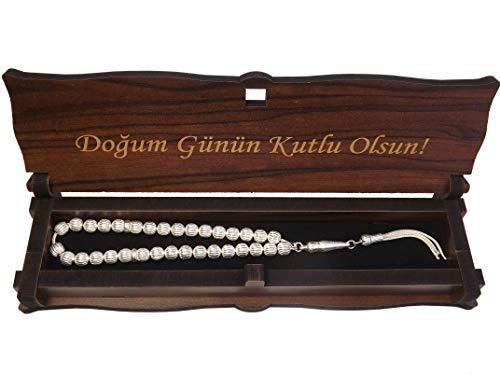 Gök-Türk 925 Silber Tesbih Gebetskette + Box Schatulle aus Holz Handgemacht mit Gravur Dogum Günün Kutlu Olsun - Alles Gute zum Geburtstag auf Türkisch
