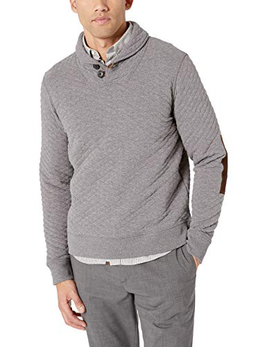Billy Reid Men's Diamond Quilted Shawl Pullover with Suede Elbow Patches, Medium Grey, L
