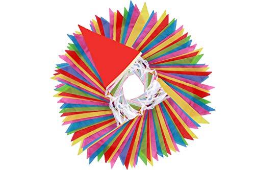 EDATOFLY 80m Wimpelketten, Nylon Bunting Banner Multicolor Wimpel mit 150 Pcs Dreieck Flaggen für Hochzeit Geburtstagsfeier Garten