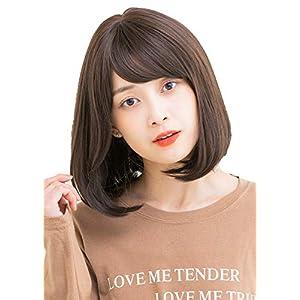 Linea-Storia(リネアストリア) ウィッグ フルウィッグ ショート ボブ 10カラー 前髪3パターン フリーサイズ「HEART BEATボブ」 (ナチュラルバング, ダークモカ)