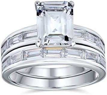0.92 cttw Emerald Cut Engagement Ring W Art Deco Full Eternity Wedding Band Ring-Bridal Ring-Dainty Set-Rose Gold Plated 65417RG-2B