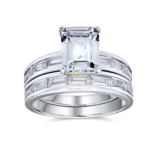 Bling Jewelry 2CT Plaza Princess Solitaire Corte Baguette CZ Compromiso Anillo de Bodas para Mujeres Sterling Silver